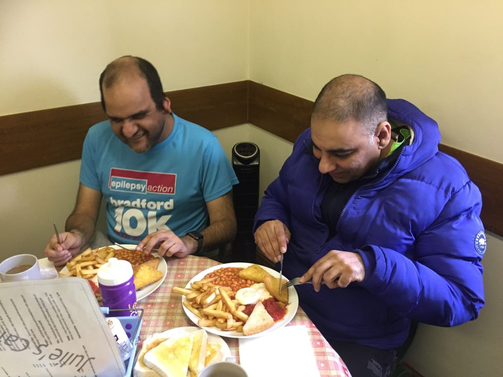 """… and I told my wife I was going tandeming as well!"" Saj and Muz tucking into a Julie's Veggie Breakfast Special. (Or was it their second breakfast?)"